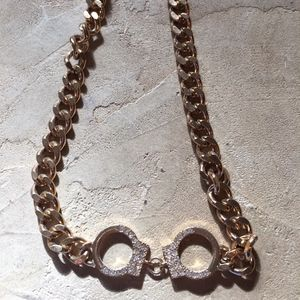 Gold Tone Solid Curb Link Handcuff Necklace